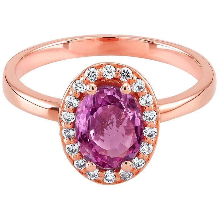 Eighteen karat rose gold cocktail ring  Sri Lanka pink sapphire 1.08 carat   Surrounded by  pave set diamonds weighing 0.34 carat Ring size 6 In Stock New Ring One of a kind ring  Ring can be resized  OGI diamonds have no enhancement OGI does not