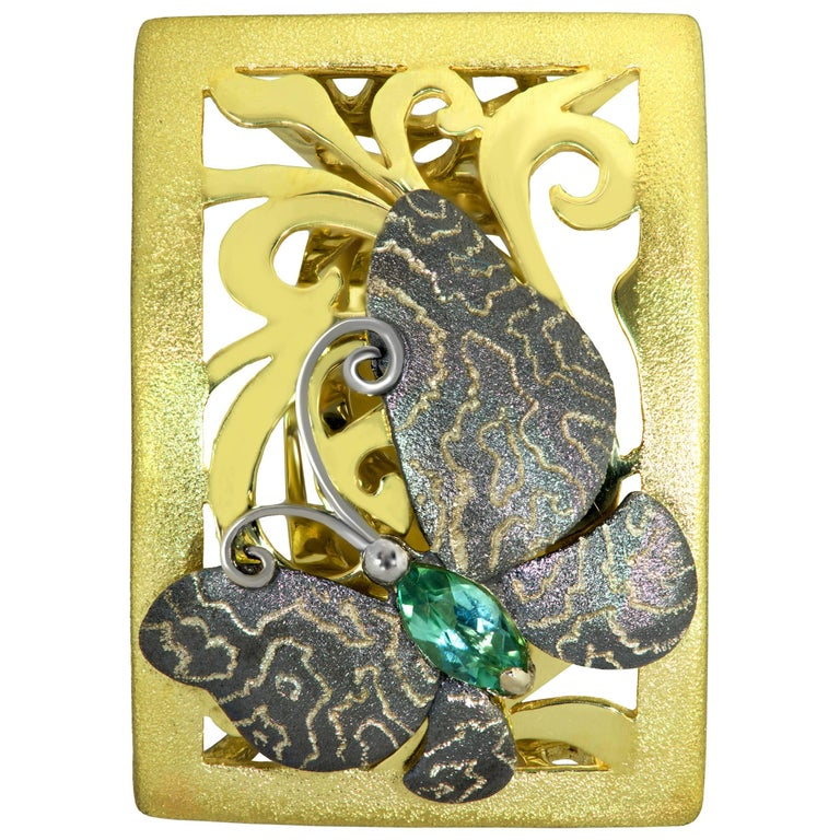 Tourmaline Gold Textured Butterfly Ring One of a Kind