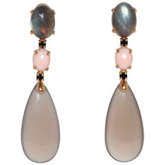 Labradorites, Corals, Spinels and Agates Yellow Gold Chandelier Earrings