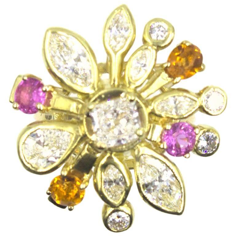 Diamond Pink Sapphire Citrine Starburst 18 Karat Yellow Gold Ring