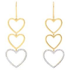 18 Karat Yellow Gold Heart Dangle Diamond Earrings