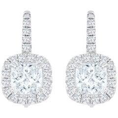 Cushion Cut Diamond Halo Drop Earrings