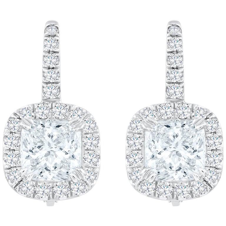 Cushion Cut Diamond Halo Drop Earrings For