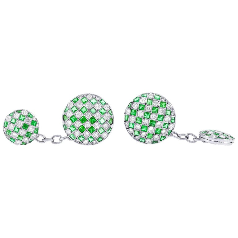 Diamond and Emerald Cufflinks