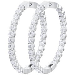 7.01 Carat Total Round Diamond Hoop Earrings