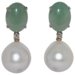 Freshwater Pearls, Agates and Diamonds White Gold Drop Earrings