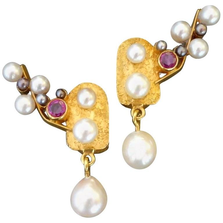 1970s German Ruby Pearl Gold Clip-On Earrings