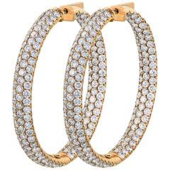 9.55 Carat Total Round Diamond Pave 3D Hoop Earrings