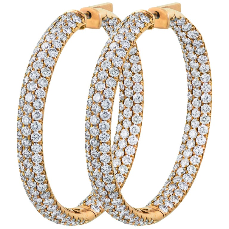 9.55 Carat Total Round Diamond Pave 3D Hoop Earrings For Sale
