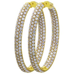 7.35 Carat Total Pave Diamond 3D Hoop Earrings