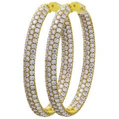 7.35 Carat Total Pave Diamond 3D Hoop Earrings