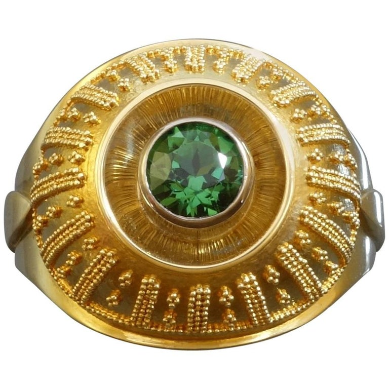 Vintage Tourmaline Granulated Gold Cocktail Ring