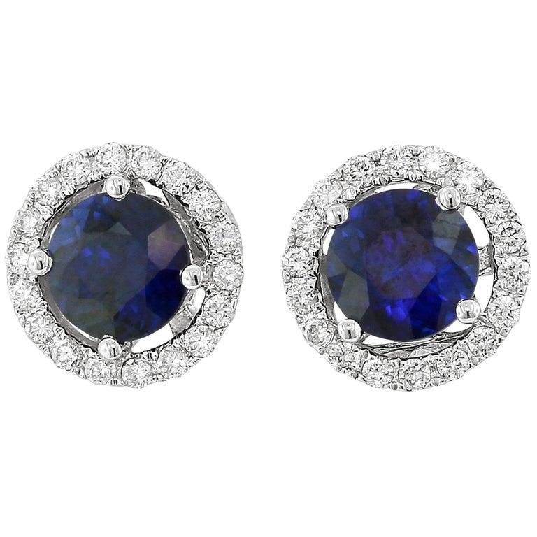 Yael Designs Blue Sapphire White Diamond Stud Gold Earrings
