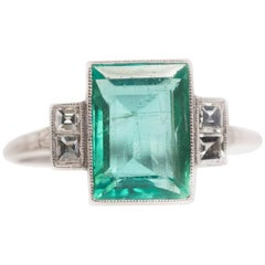 1915 3 Carat Columbian Emerald and 0.25 Carat Diamond Platinum Ring