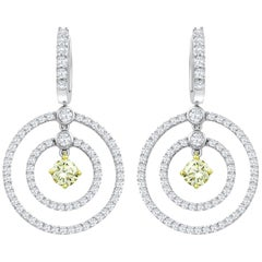 2.55 Carat Total Open Work Diamond Dangle Earrings