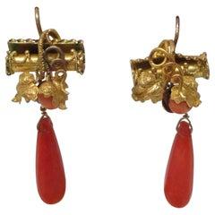 Georgian Coral Yellow Gold Earrings