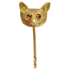 Antique Victorian Ruby Eyes Gold Fox Stick Pin