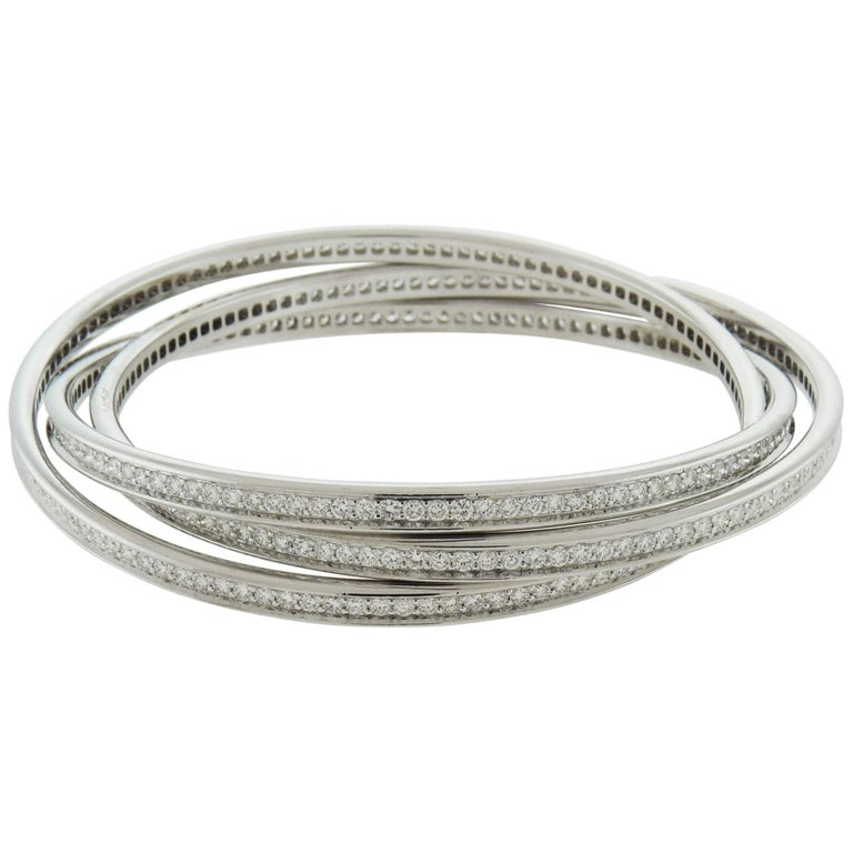 Cartier Trinity Rolling Diamond White Gold Bangle Bracelets