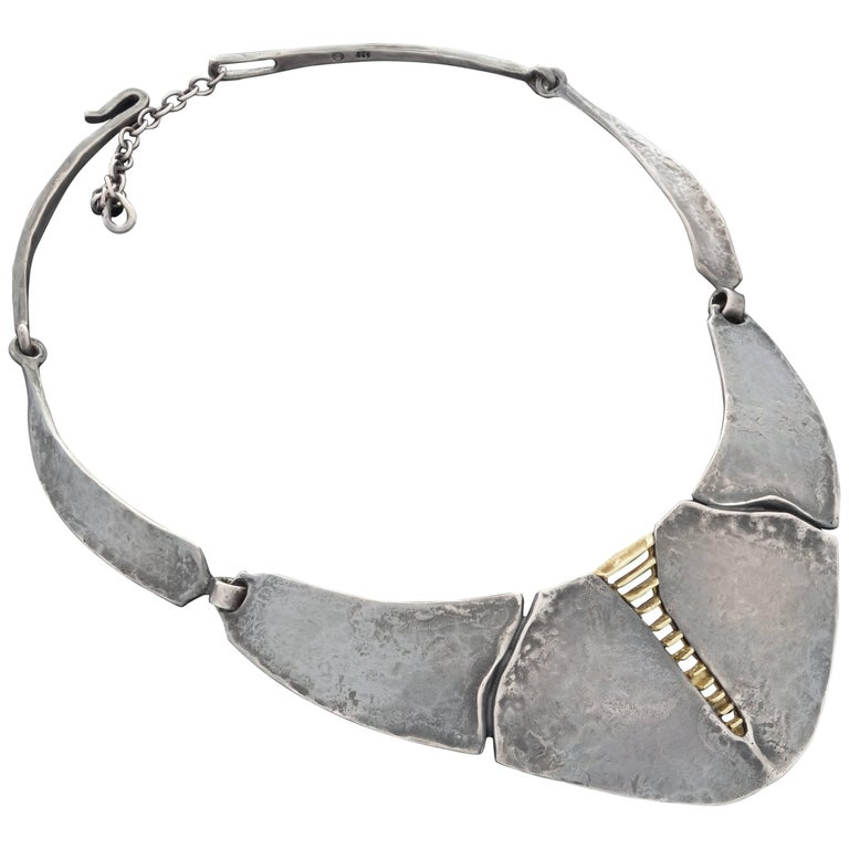 1970s Burkhard & Monika Oly Modernist Patinated Silver and Gold Necklace