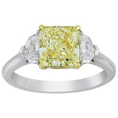 GIA Certified Yellow Diamond Three-Stone Engagement Ring
