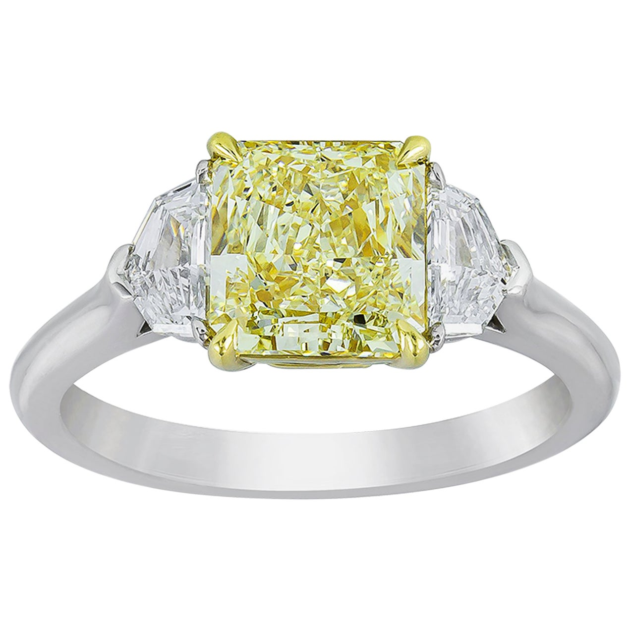 GIA Certified Yellow Diamond Three-Stone Engagement Ring