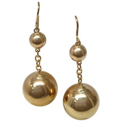 Victorian Yellow Gold Bead Dangle Earrings