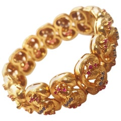 18 Karat Vintage 1980s Ruby and Sapphire Link Bracelet