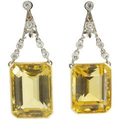 Art Deco Platinum and Yellow Gold Citrine and Diamond Earrings, circa 1930s