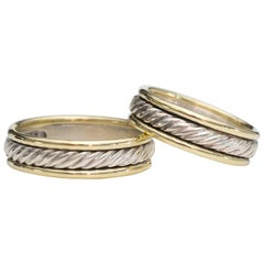 David Yurman Cable Wedding Bands in 14 Karat Gold, Sterling Silver, Set of Two