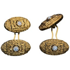 Art Deco Vintage Diamond Gold Openwork Cufflinks