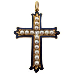 Antique Victorian Enamel Natural Pearl and Diamond Cross