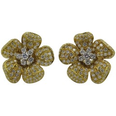Pair of Diamond Flower Earrings