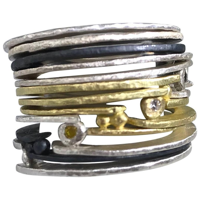 Stacking Designer Rings in 18k, 22k Gold, Sterling or Oxidized Silver Stackable