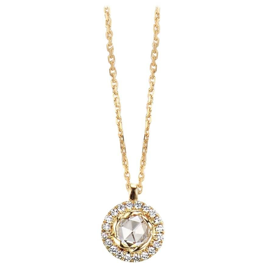 Selene 18 Karat Gold Rose-Cut Diamond Drop Pave Halo Pendant Necklace