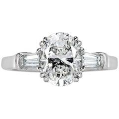 Mark Broumand 2.41 Carat Oval Cut Diamond Three-Stone Engagement Ring