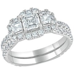 GIA Certified 0.60 Carat Asscher Cut Diamond 18 Karat White Gold Engagement Ring