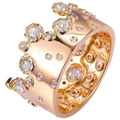 5.8 Gram 0.843 Carat 14 Karat Rose Gold Rose Cut Diamond Crown Ring, In-Stock