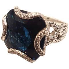 John Hardy London Blue Topaz and Diamond Ring