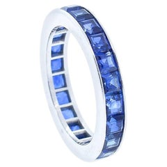 Cartier Vintage Square Cut Blue Sapphire Platinum Wedding Band