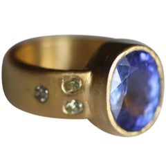 22k Gold Ring with 4.6Ct Tanzanite Yellow Diamonds Handmade Modern in stock