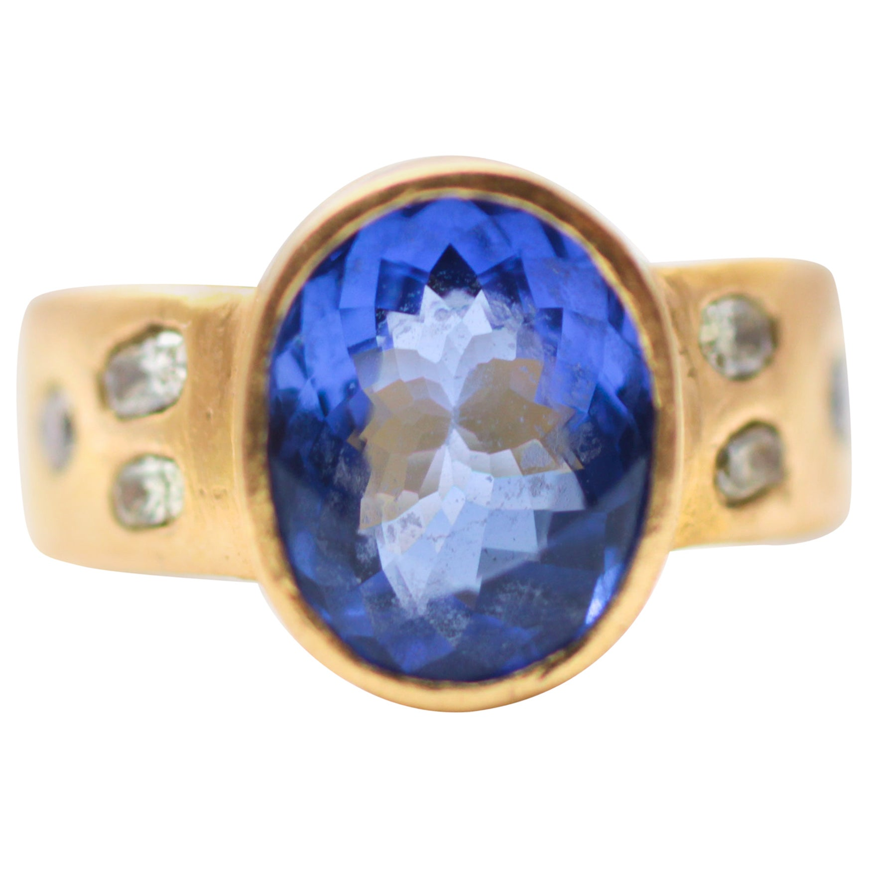 4.6 Carat Tanzanite Solitaire Yellow Diamonds Handmade 22 Karat Gold Bridal Ring