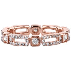0.53 Carat Rectangle and Square Rose Gold Eternity Band Ring