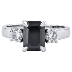 H & H 2.34 Carat Black Diamond Engagement Ring
