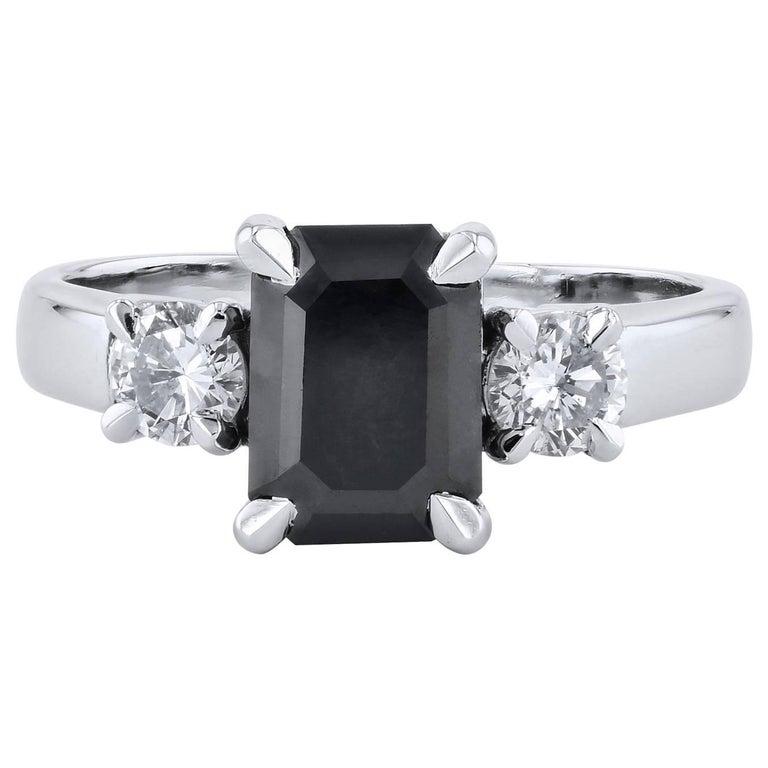 2.34 Carat Emerald Cut Black Diamond Engagement Ring Handmade by H&H Jewels