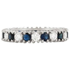 Diamond Sapphire Platinum Band Ring