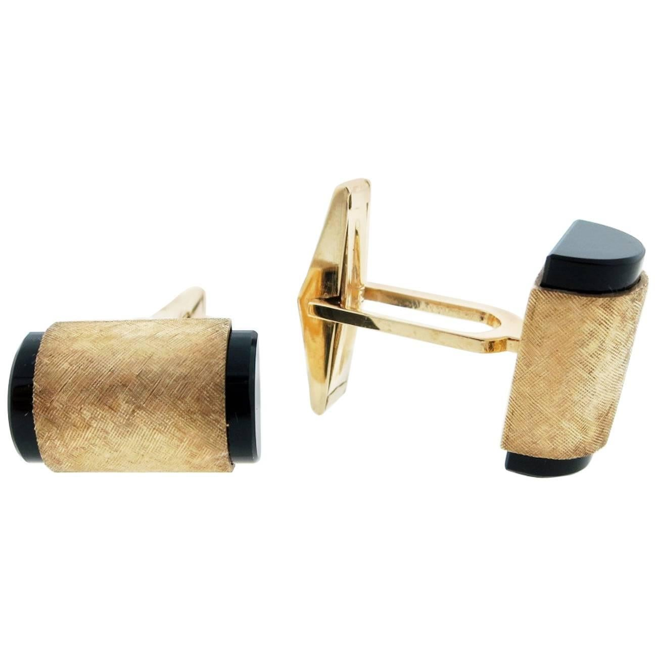 1stdibs 14k Yellow Gold With Onyx Chain-link Cuff Links 7W07UmGa