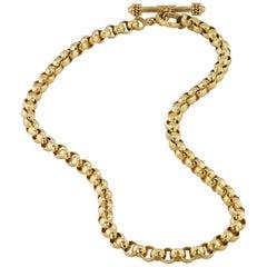 Elizabeth Locke Yellow Gold Venetian Link Toggle Necklace