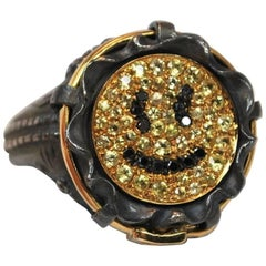 Black Diamond and Yellow Sapphire Smiley Face Fashion Jean Ring