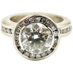 1.94 Carat Diamond EGL Certified Ring Diamond Halo 14 Karat White Gold Mount