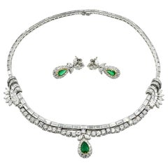 Platinum Diamond and Emerald Necklace and Earring Set